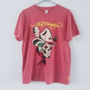 Ed Hardy skull cowboy coral red color graphic tee